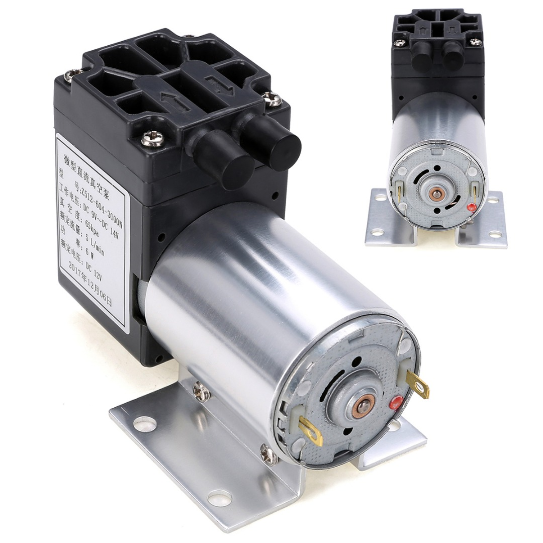 1pc DC 12V 6W Mini Vacuum Pump 5L/min High Pressure Suction Diaphragm Pumps with Holder Mayitr