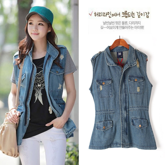 2013 new Fashion special Street style  cat pattern print casual slim waist medium-long denim vest, jeans sleeveless jacket