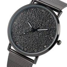 Moda Feminina moda Relógios de Malha de Aço Inoxidável Ferro Crey Tempo de Esportes dos homens do Relógio de Pulso Feminino Presente Relogio feminino