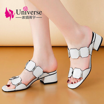 """Universe New Summer Genuine Leather Slippers Women Fashion White Green Black Shoes 4 cm / 1.57"""" with Crystals G189"""