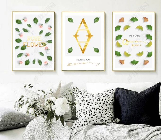 Nordic Minimalist Plant Leaves Decorative Paintings Modular Picture Wall Art Canvas Painting for Living Room No Framed in Painting Calligraphy from Home Garden