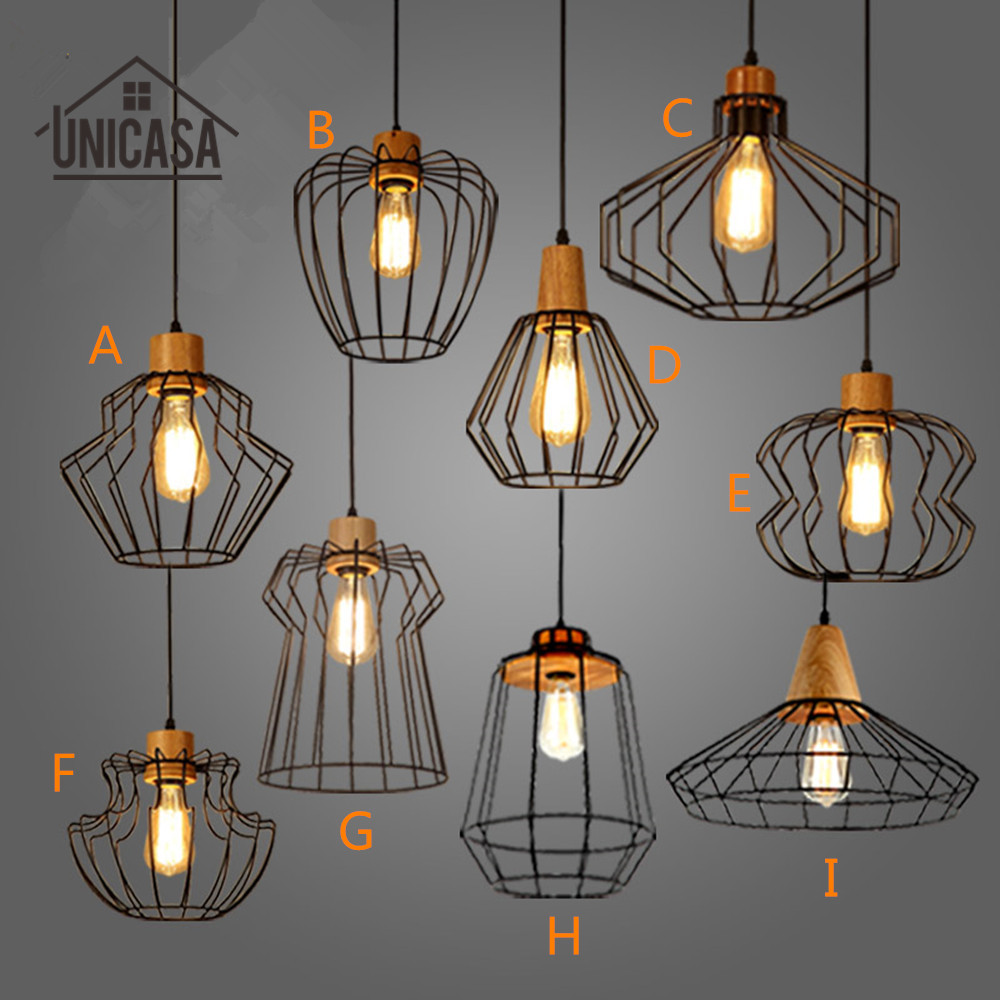 Industrial Wrought Lighting Fixtures Vintage Wooden Kitchen Modern Pendant Lights Antique Iron