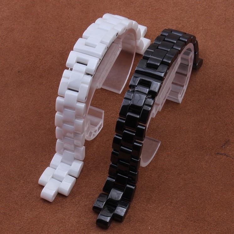 Konvekse armbånd keramisk sort hvid armbånd armbånd 16mm 19mm stroppe Special Solid Links Folding spænde tilbehør erstatte