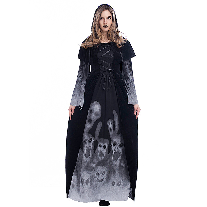 Woman's Black Print Skeleton Robe Vampire Witch Costumes With Hooded Cape For Halloween Party Cosplay  S-L