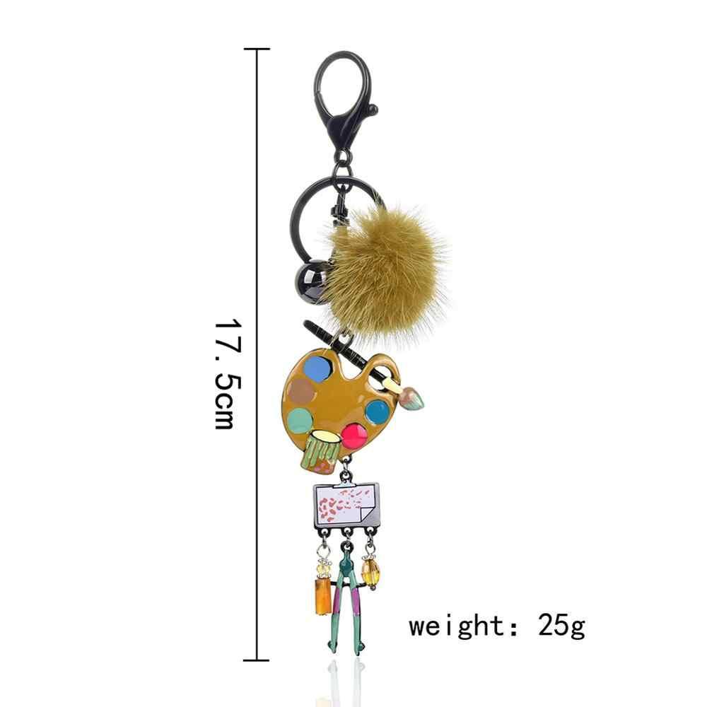 Clock coco criativo artístico desenho placa chaveiros para as mulheres feminino pompom chaveiro bolsa pingente carro chaveiro anel melhor