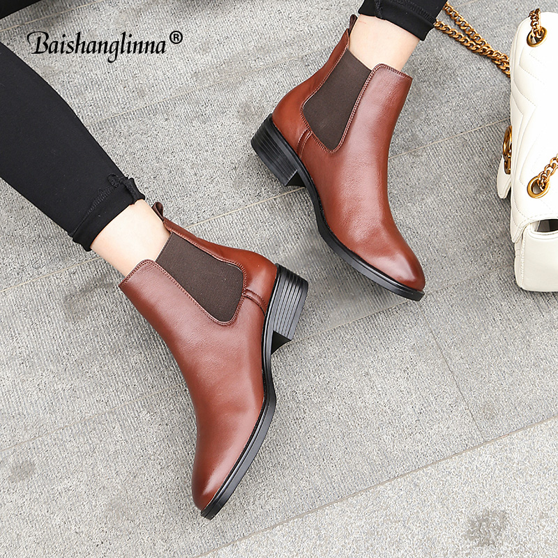 2018 Chelsea Boots Women Top Quality Genuine Leather Brand Calfskin Round Toe Ankle Shoes Handmade Solid slip-on women boots new shiningthrough 2018 round toe cow leather solid nude women ankle boots thick heel brand women shoes causal motorcycles boots