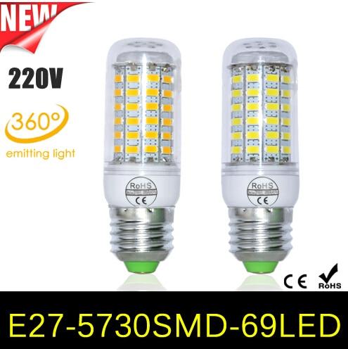 LED Globe Bulbs  9W E27 LED Corn Bulb 69LEDs SMD 5730 LEDAC 220V Samsung  Lamp Chandelier Light For New Year Home Lighting