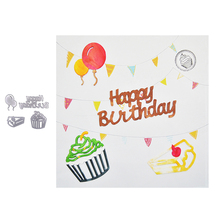 Happymems 2019 New Happy Birthday Metal Cutting Dies Stencil DIY Scrapbooking Card Making Embossing Die Cut Cake Card Crafts матрас lonax baby strutto б п 70x160