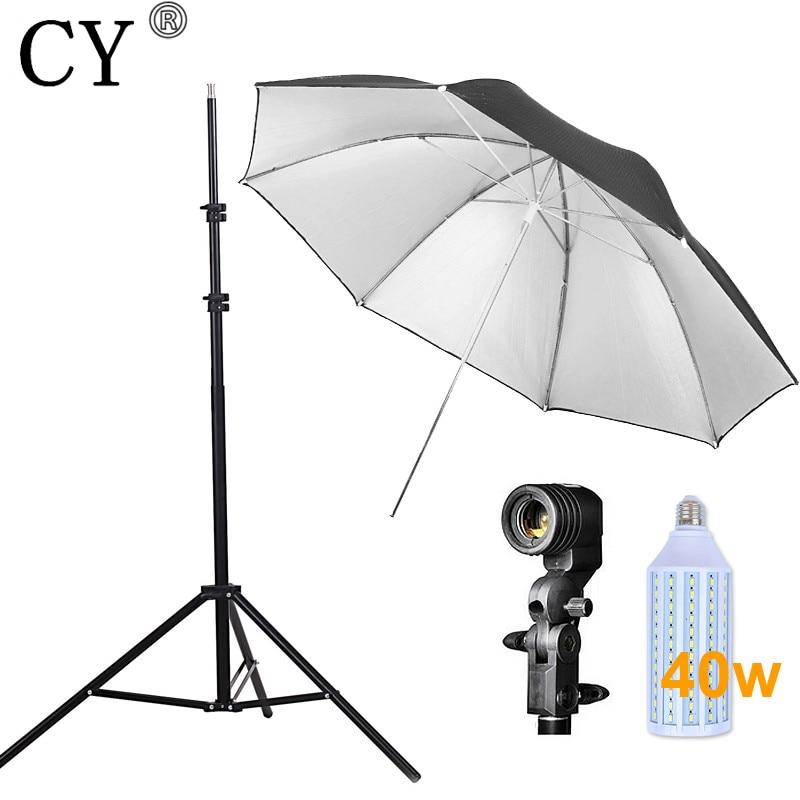 CY New Photo Studio Lighting Kit 40w LED Light Light Stand Umbrella Bulb Socket Studio Continuous Lighting Kits