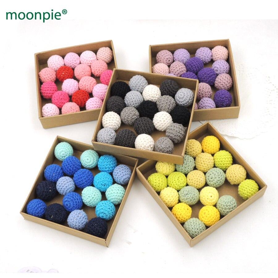 sale 20pcs baby DIY wooden crochet beads,31colors, handmade teether bead cotton yarn knitted bead diy ecofriendly EA228b