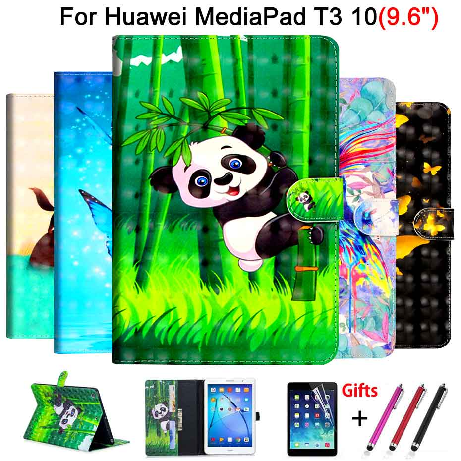 PU Leather Case For Huawei MediaPad T3 10 AGS-W09 AGS-L09 AGS-L03 9.6 Cover Funda 3D Cartoon painted Flip Stand Shell +Film+Pen magnet stand cover case for huawei mediapad t3 10 ags l09 ags l03 9 6 inch tablet pu leather cover protective case film pen