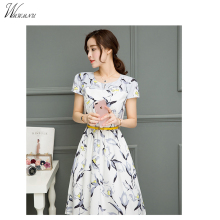 WMWMNU 2018 European summer new Korean women printed long sleeveless dress fashion dress and put the word A
