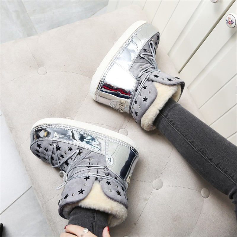 Étoiles Pic Cheville Designer As Appartements Botas Chaussures Chunky Bottines Stud Laine Femme Rivets Fourrure De Bottes Pic Haute Femeninas as Neige Chaud Lacent Hiver ngXfFq7