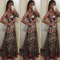 2018 New Hot Sexy Fashion Women Formal Flower Long Party Prom Ball Gown Wedding Floral Long Dress