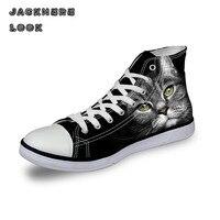 JACKHERELOOK Amantes de La Manera Del Ocio Clásico de Alta Superior Zapatos de Respiración Gatos 3D de Impresión de Las Mujeres Zapatos Casuales de Verano con cordones de Pisos zapato