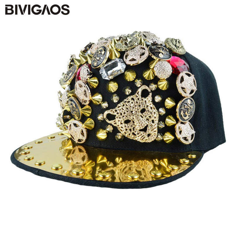 New Arrival Fashion Unisex Snapbacks Rhinestone Rivet   Cap   Punk Leopard Head Hiphop Hip-hop Hats   Baseball     Caps   For Men Women