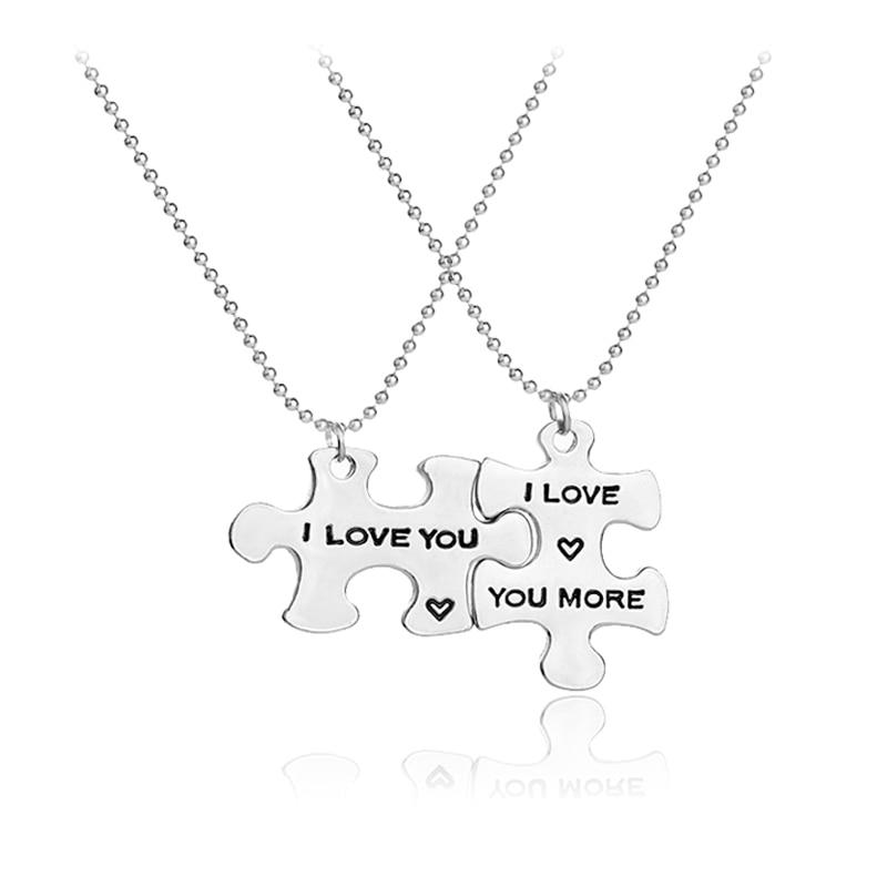 Я люблю тебя/я люблю тебя больше пары Ожерелья для мужчин, персонализированные пары ювелирные изделия, идеальный подарок для друга подруги