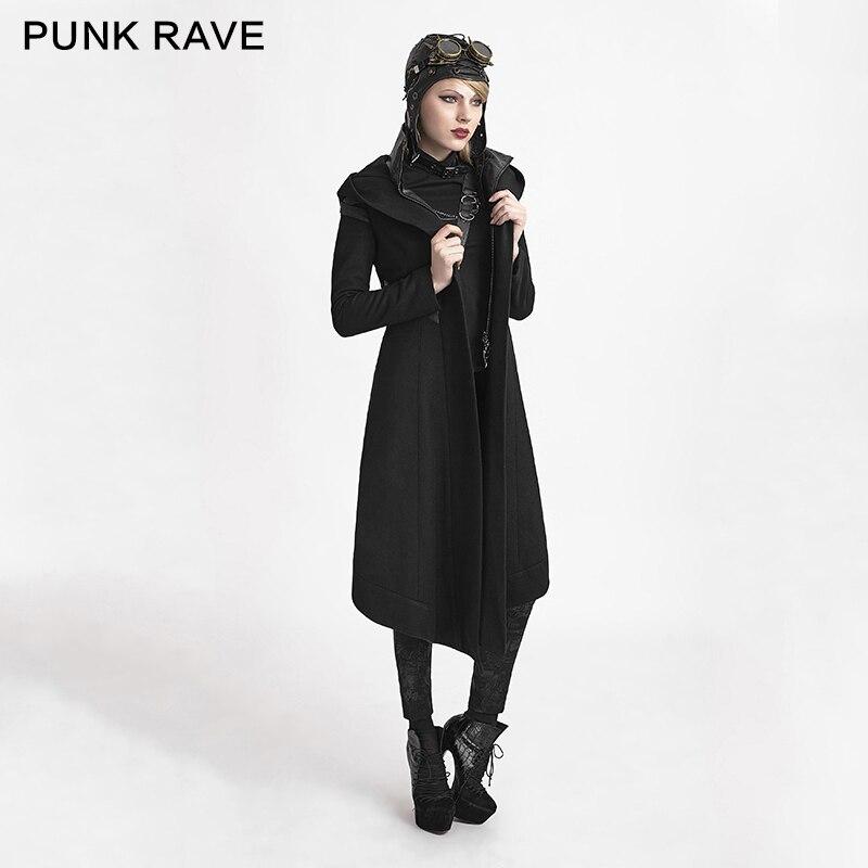 Steampunk Longue Veste À Goth Y611 Capuchon Femmes Noir Manteau Sorcière Rave Cyber L M Cosplay Punk S wPzqHTFH