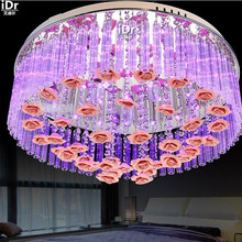 Красочные СВЕТОДИОДНЫЕ фонари круглые стекло лампа спальня исследование лампа лампа зал огни Crystal Light Rose Потолочные Светильники wwy-0203