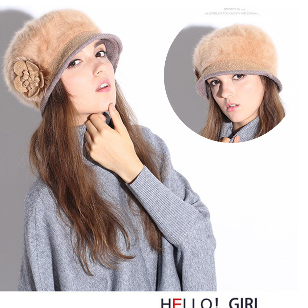 New Women Beret Hat Cap Winter Hat For Women Hat Skullies & Beanies High Quality Rabbit Hair Soft Cap Female Cap Drop Shipping women cap skullies