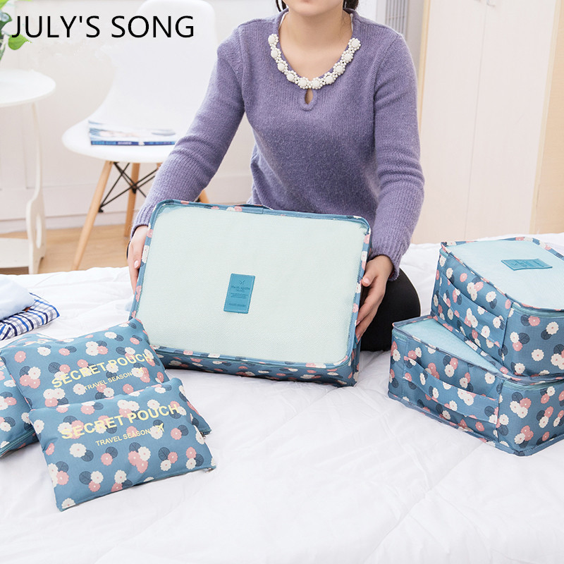 6 Pcs JULY'S SONG printing Travel Storage Bag Set for Clothes Organizer Pouch Suitcase Home Closet Divider container Organiser