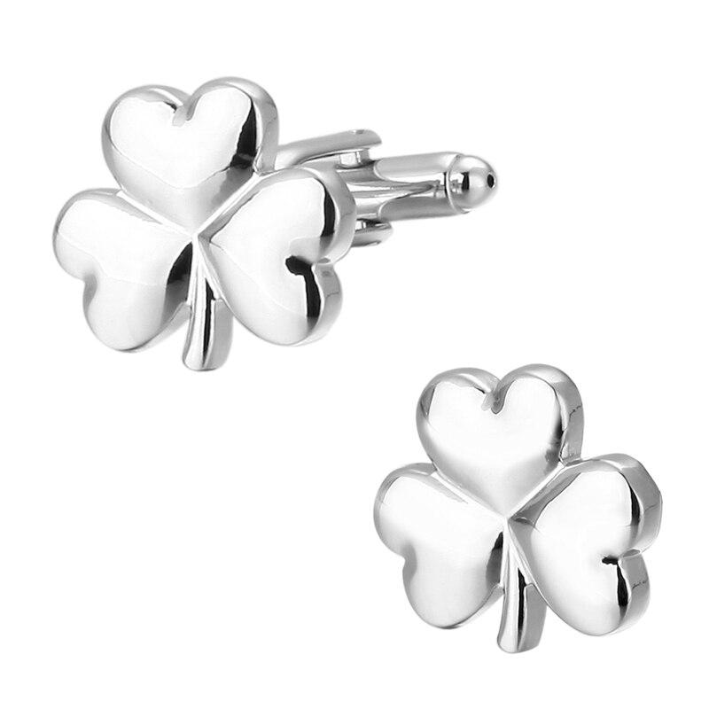 Fashion Men's Jewelry French Cuffs Cufflink Silver Clover Leaves Snowflake Cufflinks