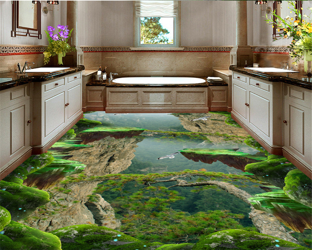 beibehang wallpaper for walls 3 d Personality Forest Valley Mountain Peak Bathroom Kitchen 3D Flooring Wallpaper papel de parede free shipping 5 15mm ptfe magnetic stirrer mixer stir bar with pivot ring white color