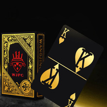 Купить с кэшбэком 100% Plastic Cards Poker Gold Foil Plated Poker Black Playing Cards Waterproof PVC Magic Plastic Cards Baralho Deck Gambling