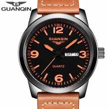 relogio masculino New Fashion Mens Watches GUANQIN Quartz Watch Men Military Sport Leather Strap Wristwatch