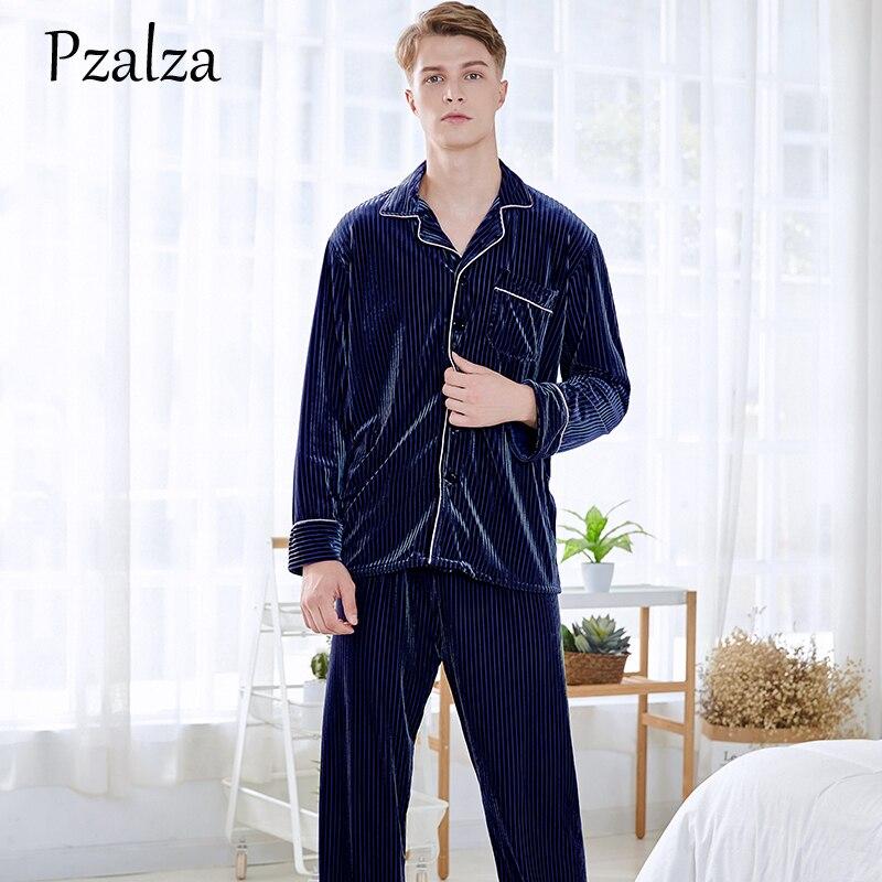 2018 Pyjamas Männer Winter Langarm Shirt + Hosen Männer Pyjamas Set Weiche Velours Männer Pyjama Homewear Rot Grün Braun L Xl Xxl Fabriken Und Minen