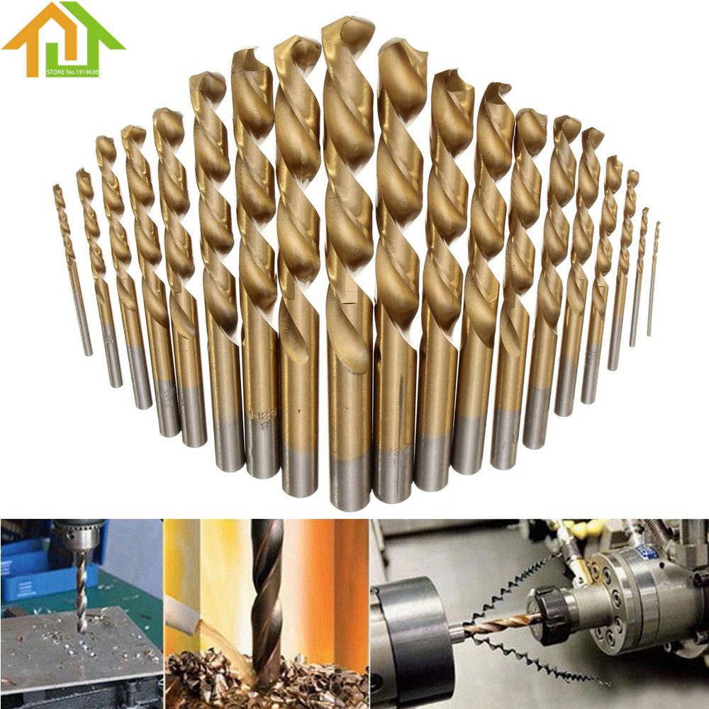 19pcs 1mm - 10mm High Speed Steel Manual Twist Drill Bits Titanium Coated HSS  Drill Bit Set Tool 13pcs lot hss high speed steel drill bit set 1 4 hex shank 1 5 6 5mm free shipping hss twist drill bits set for power tools
