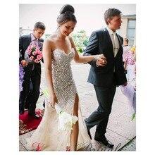 Glamorous Meerjungfrau Liebsten Zipper-Up Zurück Champagne ptom Kleid Luxus Perlen Abendkleid Benutzerdefinierte vestido de festa gala jurken