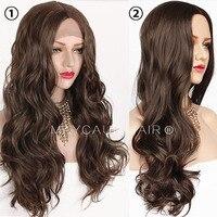 Maycaur коричневый Цвет длинные волнистые парик синтетические Синтетические волосы на кружеве парики для Для Женщин Кружевной парик без клея ...