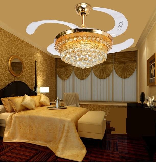 Lujo cristal invisible ventiladores Sala lámpara fans araña comedor ...