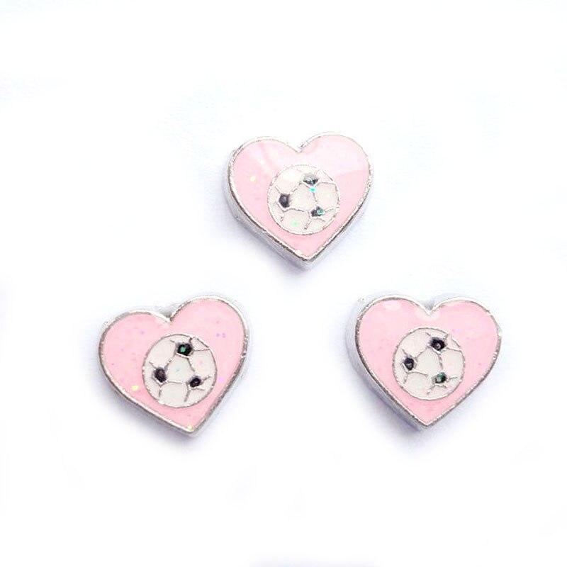 20 шт./лот DIY моды сплав розовые спортивные мячи сердечки амулеты для плавучий движущийся медальон на память