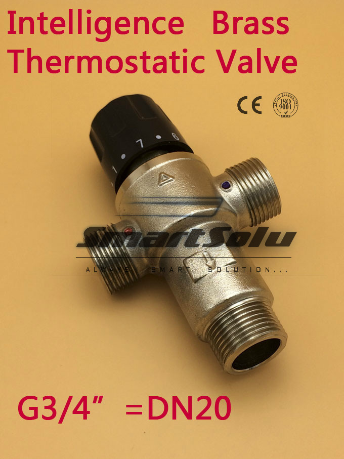 Free Shipping 3/4(DN20) brass solar water heater thermostatic mixer valve dn20 dn25 solar water heater valve 3 way thermostatic mixer valve 3 4 1 3 way brass male thread thermostatic mixing valve