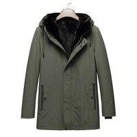 Парка с мехом для мужчин 2018 новое зимнее пальто капюшон Длинная норка меховой воротник подкладка из кролика мужской натуральный мех пальто