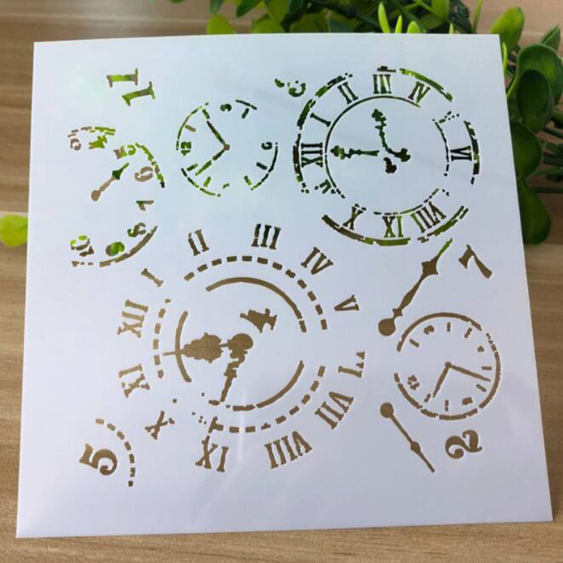 Stencils For Painting And Decoration Time Stencils Template DIY Painting Tools Photo Album Scrapbooking Bullet Journal Stencils