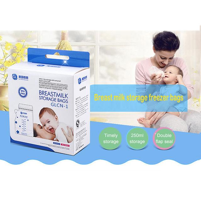 GL 40pcs 250ml Baby Breast Milk Storage Bags Milk Freezer Bags Baby Food Storage Baby Breastmilk Feeding Safe Breast Milk Bags