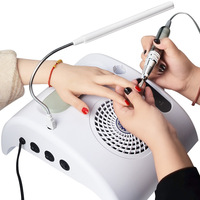 3in1 Salon Expert Nail Machine Workbench 35000rpm Nail Drill with 7W LED Desk Lamp Dust Collector Cleaner