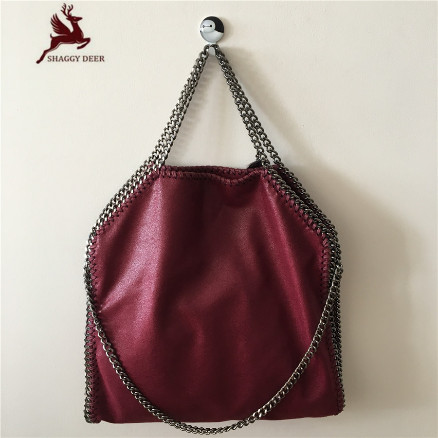 NEW Wine Red Shaggy Deer Brand PVC Luxury Fold Over Fala Fold Over 3 Chain Tote Best Quality mini gray shaggy deer pvc quilted chain bag with cover real picture