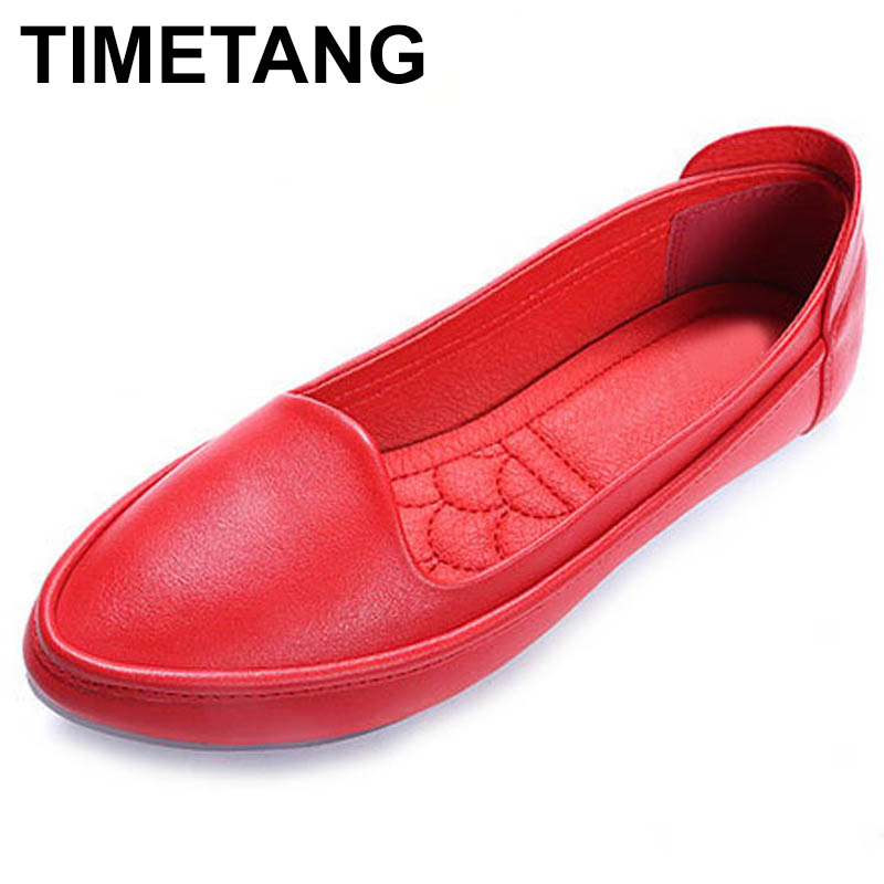 TIMETANG New 2018 Casual Shoes Women Flats Round toe Soft Single Shoes Fashion Brand Women's Loafers C183 vintage embroidery women flats chinese floral canvas embroidered shoes national old beijing cloth single dance soft flats