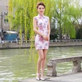 2016 Vintage  Sexy Cheongsam Traditional Chinese clothing flower printing qipao for Women Vestido