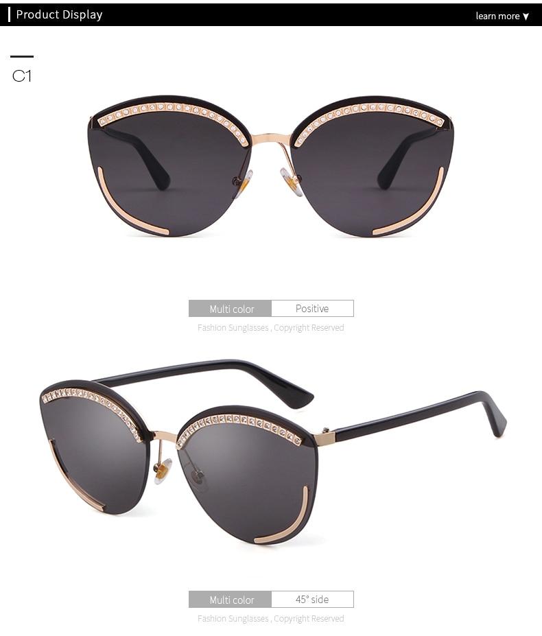 efd7b2dc995 2019 Diamond Cat Eye Sunglasses Brand Design Vintage Oversized ...