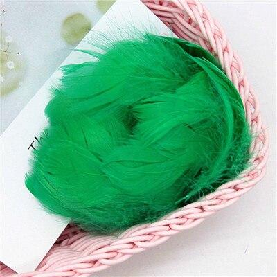 Разноцветные, 100 шт, гусиные перья, 8-12 см, гусиные перья, сценический шлейф, перья, промытый гусиный пух, пушистый шлейф для свадьбы, 3-4 дюйма - Цвет: green