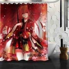 Popular Custom Sexy Anime Girls Shower Curtains Polyester Bathroom Waterproof Bath Curtain Size 150X180cm165X200cm180X200cm