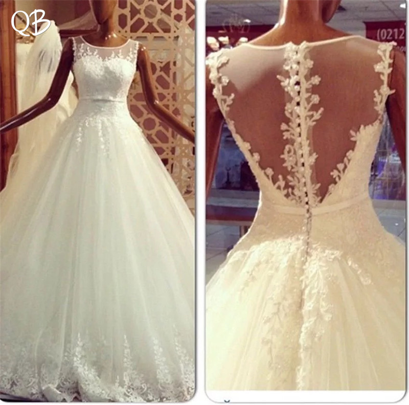 Ball Gown See Through Back Appliques Lace Tulle Elegant Formal Wedding Dresses Wedding Gowns 2019 New Fashion Custom Made DW259