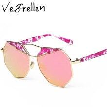 VeBrellen Fashion Brand Design Polygon Sunglasses Alloy Double Color Polarized Sunglasses Luxury Cool Eyewear For Women VJ041