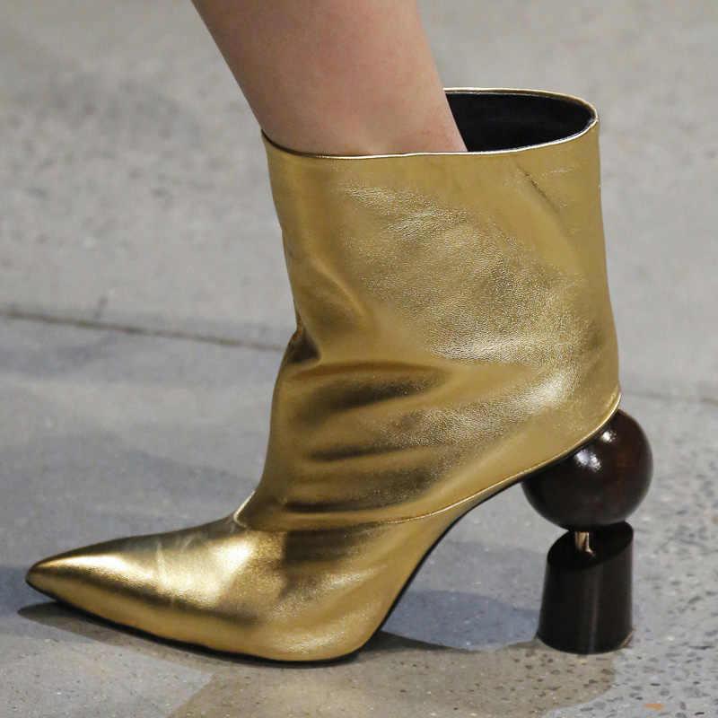2018 neueste Stiefeletten Frau Spitz Ball Blöcke Seltsame Ferse Stiefel Frauen Schwarz Rot Gold Weiß Echt Leder Stiefel