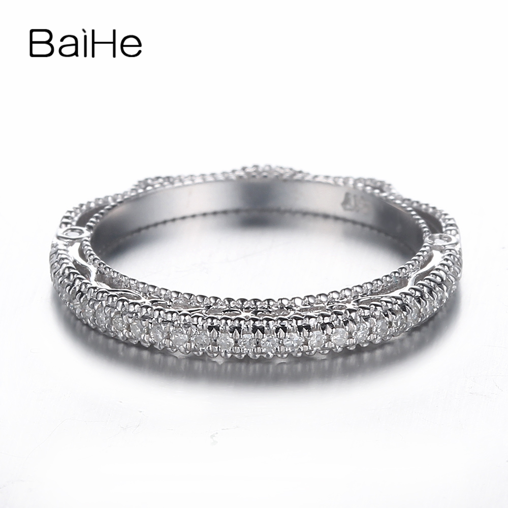 BAIHE Sterling Silver 925 0.2CT Certified H/SI Round Cut 100% Genuine Natural Diamonds Wedding Women Trendy Fine Jewelry Ring